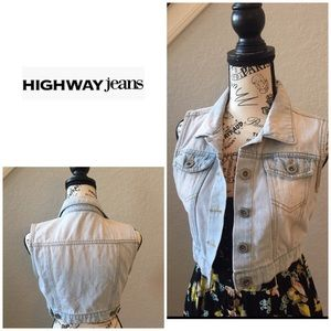 Cropped Distressed Denim Vest by Highway Jeans